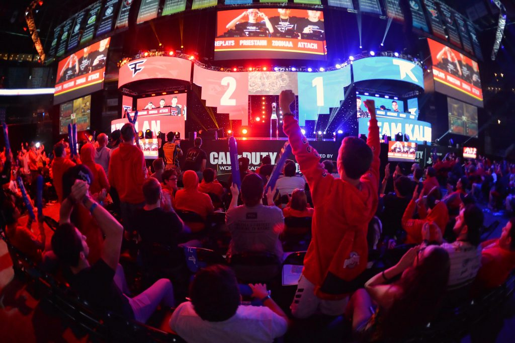 Fans cheer as Faze Clan competes against Team Kaliber for the final spot in the Grand Finals during the 2018 Call of Duty World League Championship (Getty Images)
