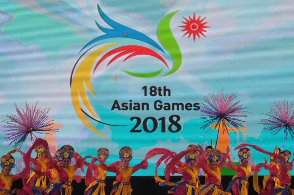 Indonesian dancers perform at the 2018 Asian Games (Photo credit should read STR/AFP/Getty Images)