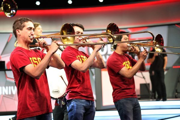 The USC marching band performs during the League of Legends College Championships. (Photo courtesy of Getty Images)