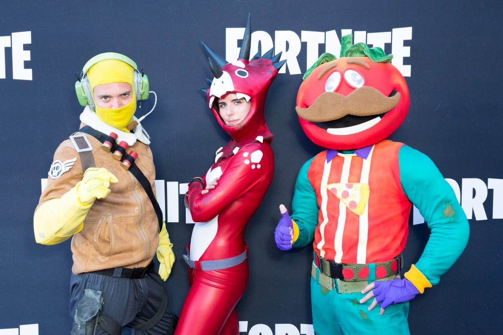 Cosplayers at Epic Games' Fortnite Party Royale on June 12, 2018 in Los Angeles, California. (Photo by Greg Doherty/Getty Images)