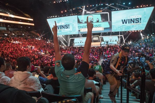 A London Spitfire fan reacts after London won during the Overwatch League Grand Finals competition. (Photo courtesy of AP Images)