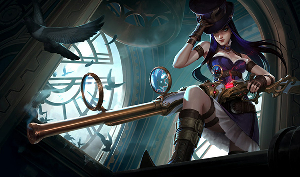 Caitlyn's amazing base range allows her to dictate trades on her own, making her great for solo queue (Image via Riot Games)