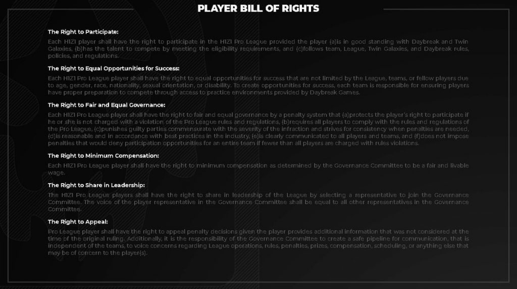 H1Z1 Player Bill of Rights