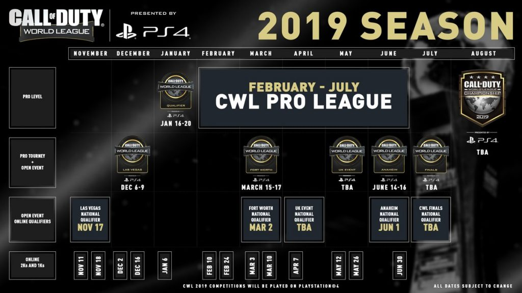 The CWL will be heading to Fort Worth, Anaheim and the United Kingdom in 2019.