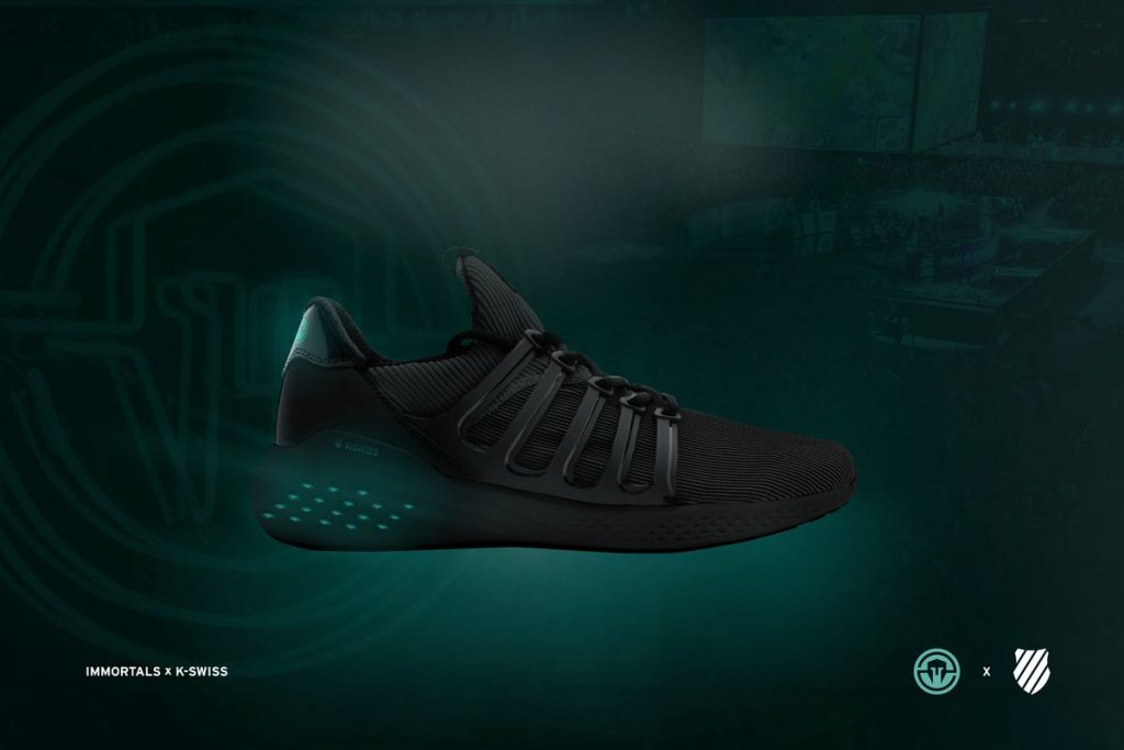"K-Swiss' first esports shoe comes through a partnership with North American esports organization Immortals. The first shoe they released is a lifestyle sneaker called the ""Icon."""