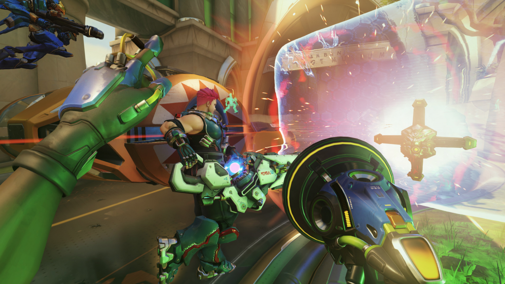 Lucio uses his Amp It Up ability to heal his nearby teammates in a game of Overwatch.