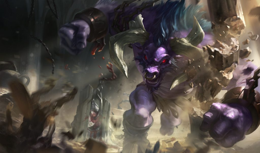 Legue of Legends champion Alistar depicted in this promotional image.