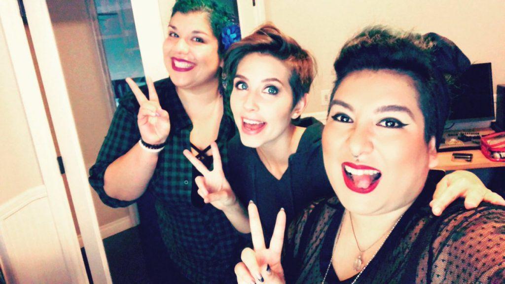 Rosa Menendez and Lorena Acevedo with OWL personality Sombie