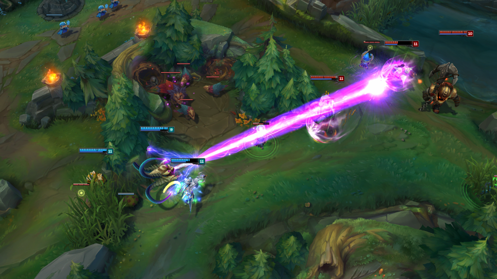 League of Legends champions on the blue team attack the red side champions on Summoner's Rift.