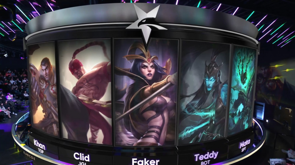LCK team SK Telecom's team picks ahead of a competitive League of Legends game.