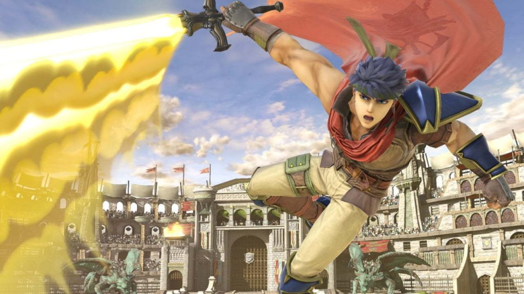Ike swings his sword in this promotional image courtesy of Nintendo.