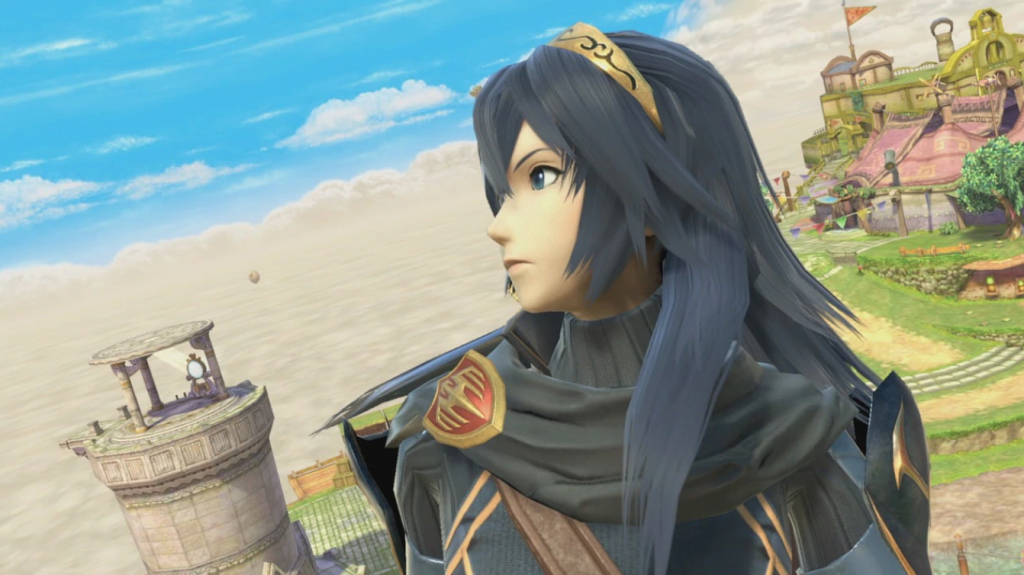 Super Smash Bros Ultimate and Fire Emblem Character Lucina looks off into the distance.