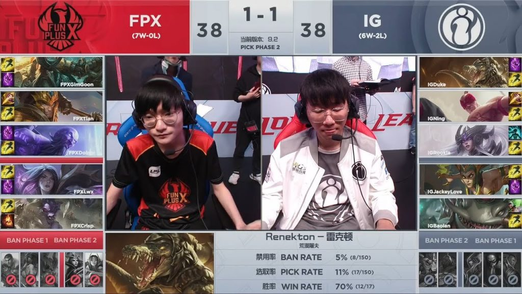 This past week featured an undefeated FunPlus Phoenix taking on a dangerous challenger in IG. (Image courtesy of LCK)