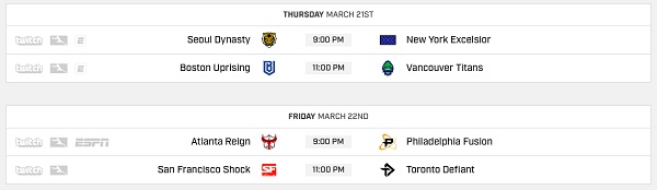 The Quarterfinal schedule has the teams playing out series over two nights. (Image courtesy of Blizzard)