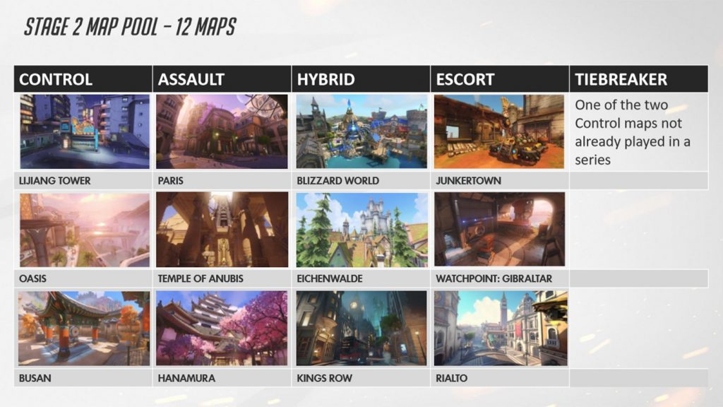 The Map pool for season 2 stage 2 for the Overwatch League.