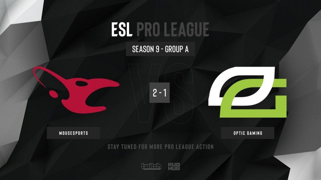 Mousesports finished first, over OpTic Gaming, in Group A of the ESL Pro League Season 9 European Division. (Image courtesy of @csruhub / Twitter)