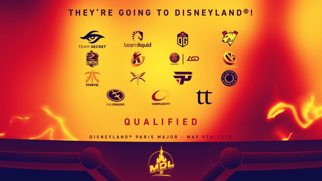 These fifteen teams have qualified for the MDL Disneyland® Paris Major. (Image courtesy of Mars Media)