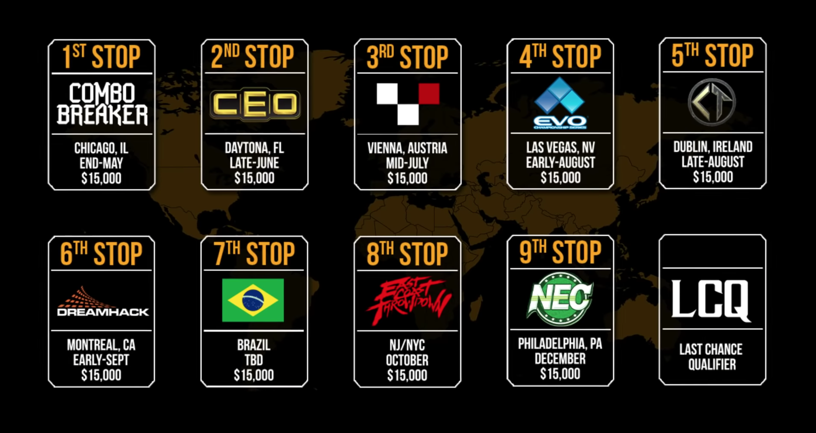 The first of these events will take place at Combo Breaker in Chicago on May 24-26. Some other notable events that will feature Pro Kompetition play include CEO, EVO and Dreamhack.