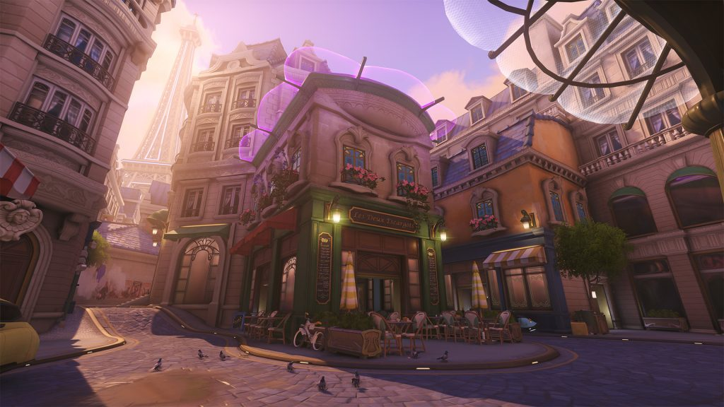 The range of Overmatch maps includes fictional locations such as Numbani, as well as imagined future versions of places such as Paris, pictured. (Image courtesy of Blizzard)