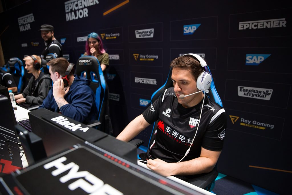 Black^ and the rest of Infamous head home after Alliance defeats them at the Dota 2 EPICENTER Major. (Image via EPICENTER)