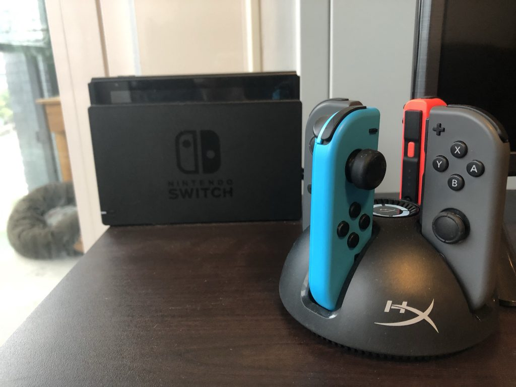 The HyperX Charge Play Quad Joy-Con Charging Station solves the problem of having four joy-cons to charge at once. (Photo via Gillian Linscott)