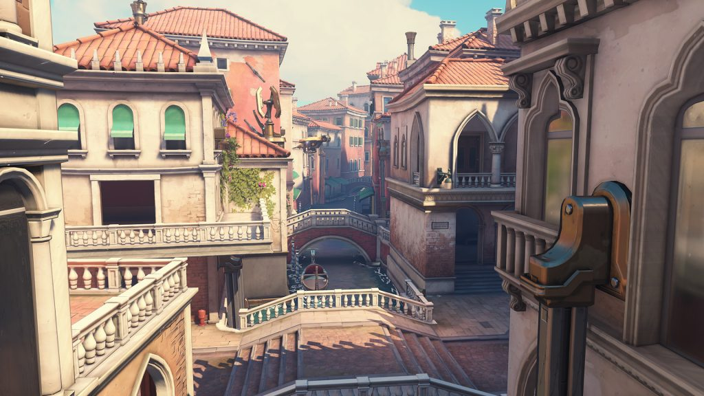 Rialto is one of several Overwatch maps that feature choke points for defensive players. (Image courtesy of Blizzard)