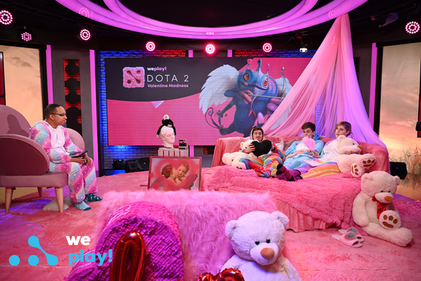 A WePlay! Valentine's themed Dota 2 event was decked out in all things fuzzy and pink. (Image via WePlay!)
