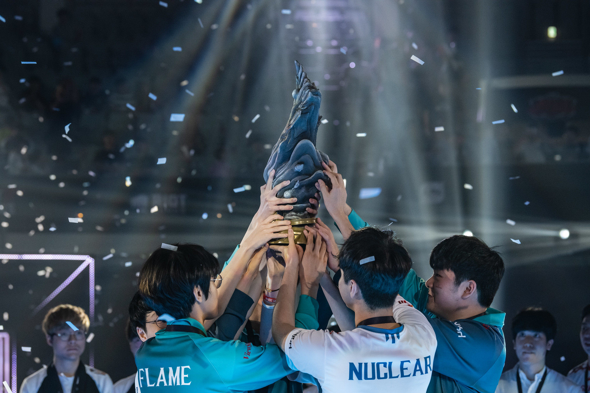 It took the LCK four games to defeat their LPL rivals in the relay-race grand final. (Photo via Riot Games)