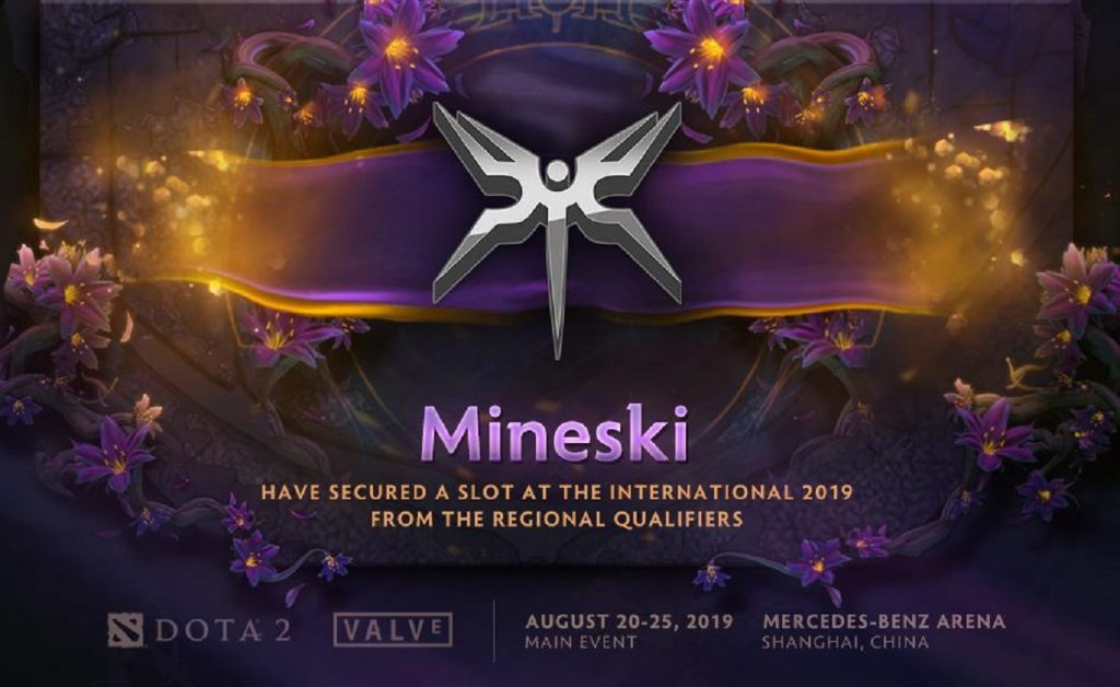 In the TI9 SEA Qualifier, Mineski took the win in an exciting 3-2 finish versus Team Jinesbrus. (Image via @wykrhm / Twitter)