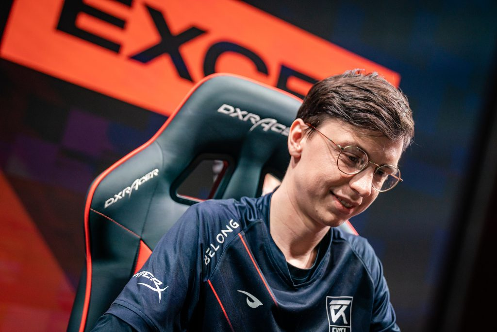 "Excel jungler Marc ""Caedrel"" Lamont smiles after a rare win for the roster. Image via Riot Games."