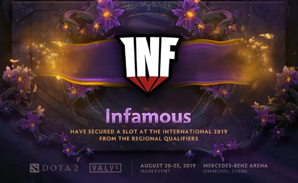 Infamous take the top spot in the SA Qualifier for The International 2019. (Image via @wykrhm / Twitter)