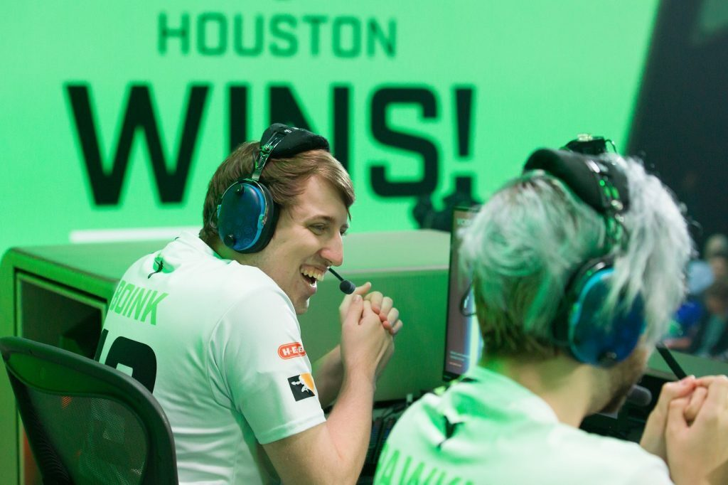 Boink laughs while playing for the Houston Outlaws