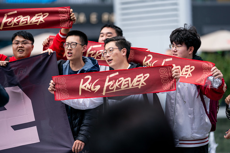 RNG fans gather outside the Mercedes-Benz Arena in Berlin (Photo via LoL Esports/Flickr)