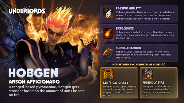 Hobgen is one of the first Underlords in Dota Underlords.