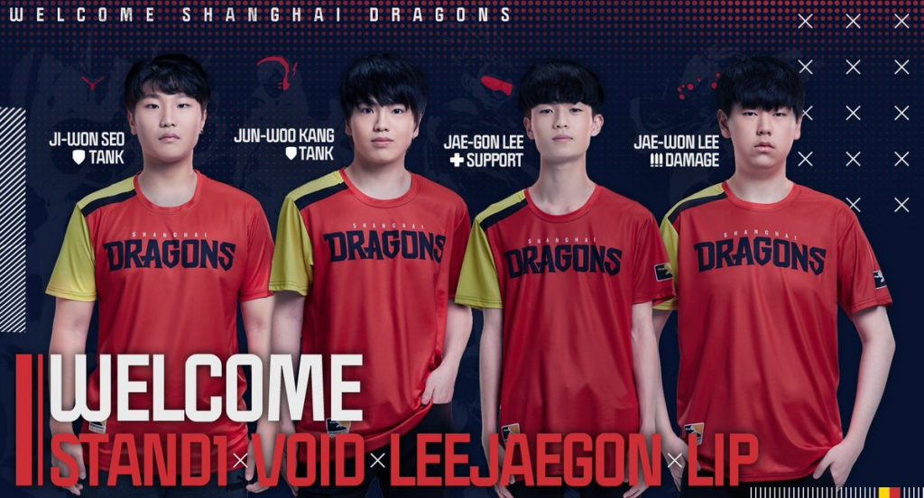 Stand1, Void, LeeJaeGon and LIP are the final additions to the 12-player roster (Image via Shanghai Dragons)