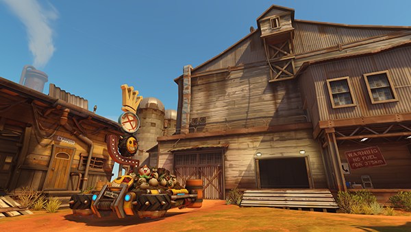 The beginning of Junkertown, an escort map (Image via Blizzard Entertainment)