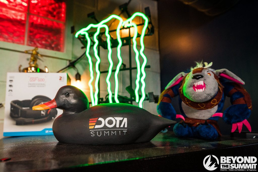 iG took down Chaos EC in the DOTA Summit 11 finals to earn a spot at the MLD Chengdu Major, and this handsome duck trophy (Photo via Beyond the Summit)