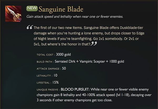 Sanguine Blade has already found itself nerfed since the release of the newest patch (Image via Riot Games)