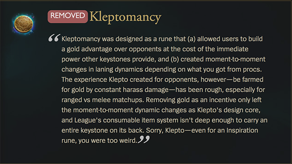 Kleptomancy is one of several runes to be removed in the latest patch (Image via Riot Games)