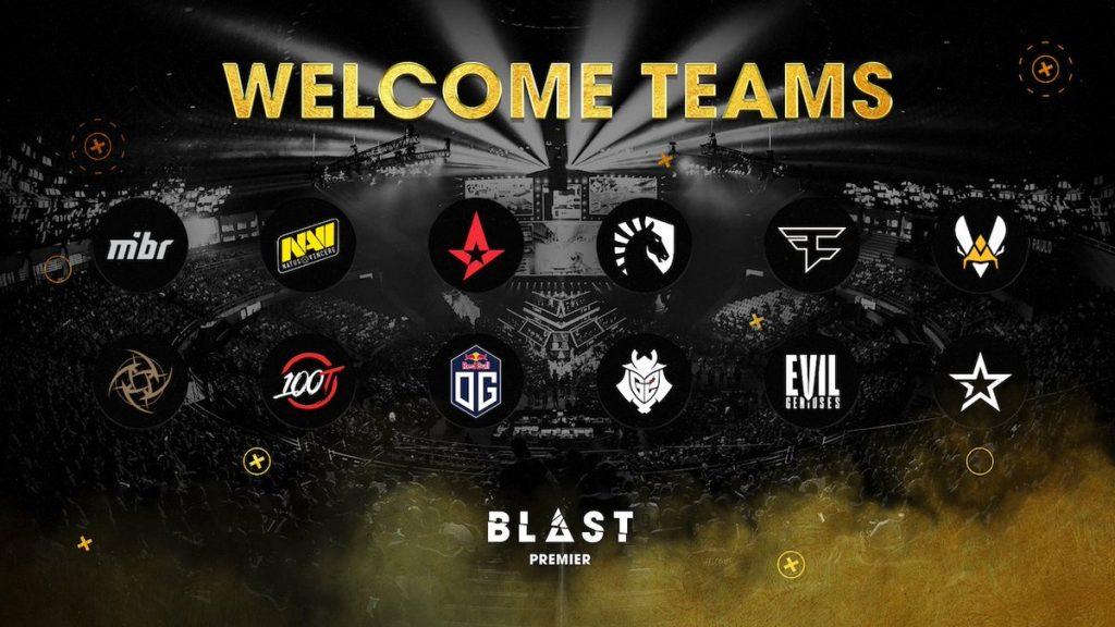 100 Thieves, Team Vitality, OG, G2 Esports, Evil Geniuses and complexity are the six new teams in the BLAST Premier (Image via BLAST Pro Series)
