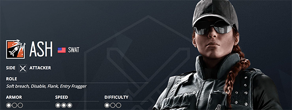 With low armor and high speed, Ash is a great operator for entry fraggers (Image via Ubisoft)