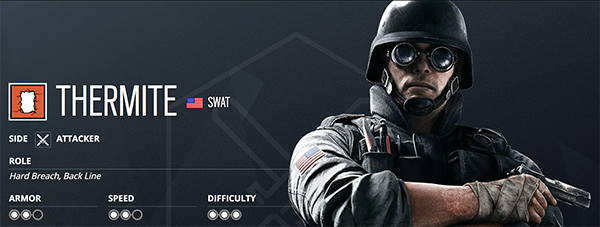 To better understand how to breach and attack objectives, Thermite is a key operator for players (Image via Ubisoft)