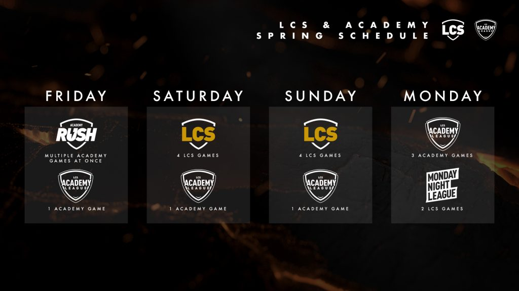 LCS and LCS Academy new schedule