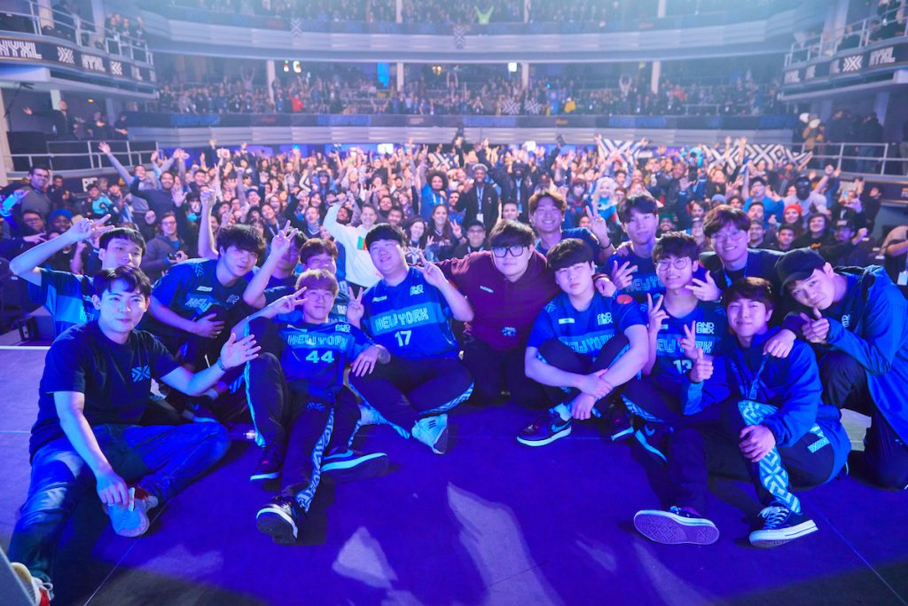 NYXL celebrate their victory with fans
