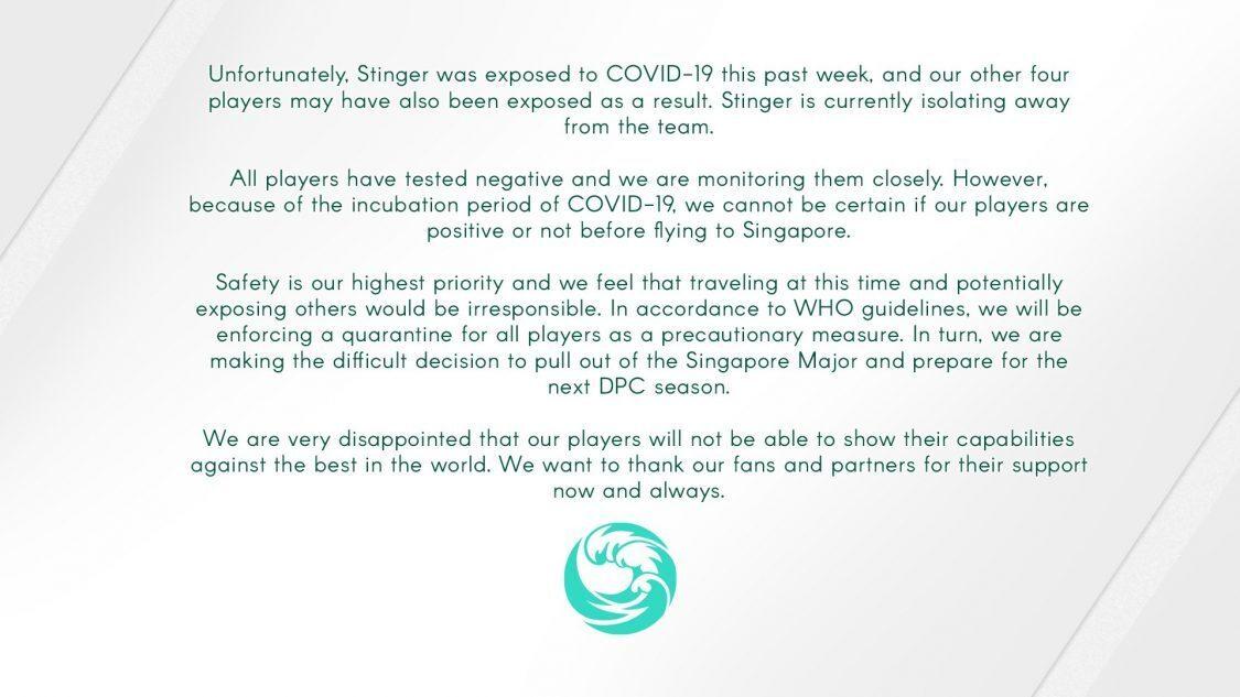 beastcoast Singapore Major withdrawal statement